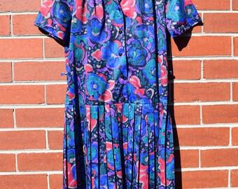 Blue Purple Cerise Green Floral Vintage Dress