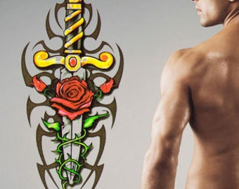 Tribal Sword temporary tattoo design - 2x3 inch