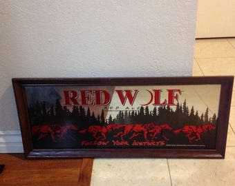 Red wolf Red ale Mirror follow your instincts 1984 Vintage BeervSign