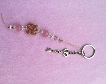Charm - pink and clear beads