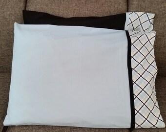 Blue/Black case with plaid trim pillowcases