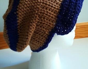 Crochet Slouchy Beanie hat with a Brim