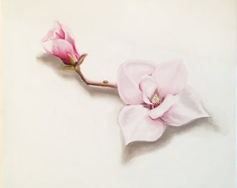 Original Oil Paintings on Canvas of Flower. Delicate Decorative Wall Art. Photo Realistic Painting for Home Decor and Lovely Home Living.