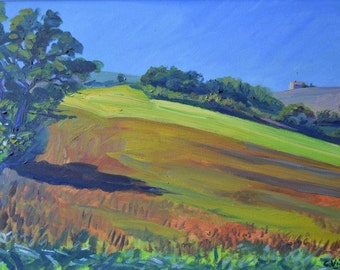 Yellow field with left oak-oil on canvas
