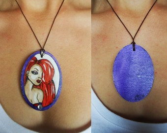 """""""Jessica"""" hand painted wooden necklace"""