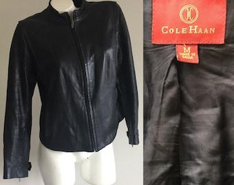 ColeHaan collarless lambskin leather jacket