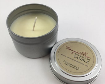 Tranquillum Candle - Handmade Soy Candle with Essential Oils - Calming, Relaxing, Peace, Stress Relief - Natural Gift idea