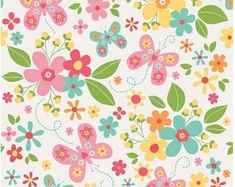 ON SALE Garden Girl Floral White Fabric by Riley Blake - Butterfly Floral Fabric - Bright Cheerful Flowers