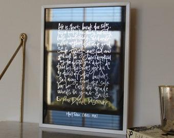 Life Is Short Calligraphy Foiled Print - Motivational Quote Silver Foil Artwork - Home decor artwork