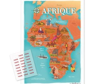 Africa illustrated world map poster