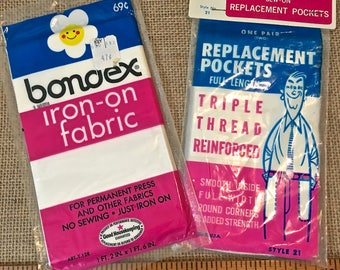 Vintage Sewing Notions- Iron on Fabric and Replacement Pockets