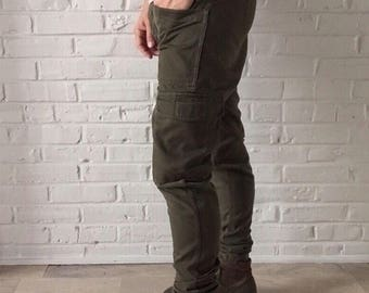 Hand Tailored Olive Green Patch Pocket Cargo Pants