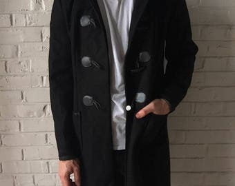 Gutted Black Wool Toggle Coat