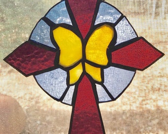 Stained glass butterfly cross