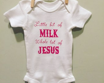 Milk and Jesus baby girl onesie