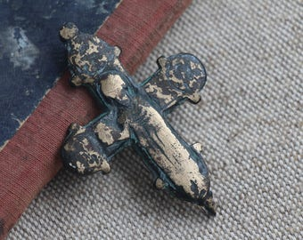 "Ancient cross , Cross encolpion ""Boris and Gleb"" , Second half of the 12th century , Ancient Rus"