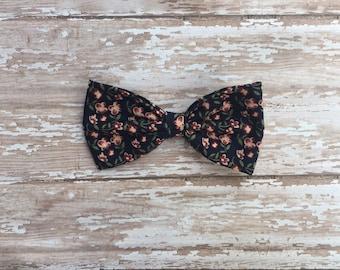 Navy floral cotton bow, hair bow, baby bow, baby headband, snap clip