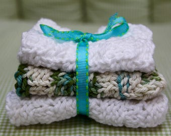 Knit Dish Cloths, White/Green