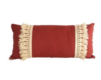 Southwest Sand Bohemian Fringe Lumbar Pillow - Designer Pillow - Accent Pillow