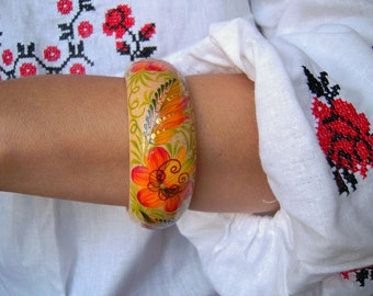 Bright wood Bracelet with hand painted Boho Jewelry Handmade folk bracelet Gift Idea for her Red and white Expressive wedding Jewelry ethnic