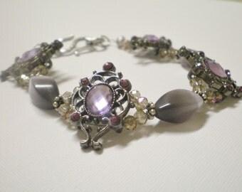 Purple Jeweled Catseye Bracelet