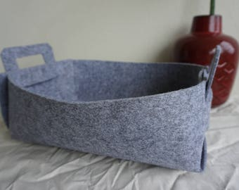 Grey Felt Storage Basket, Storage Bin, Toy Storage, Home Decor, Kids