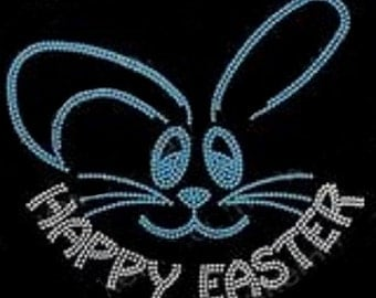 Happy Easter Bunny Rhinestone Iron on Transfer                                                                  YJW0