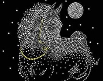 Crystal Horse Rhinestone Iron on T Shirt Design                                    1QMJ
