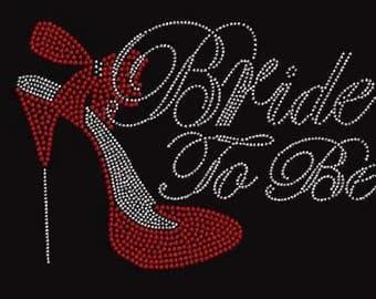 Rhinestone Bride To Be Red High Heel Lightweight T-Shirt or DIY Iron On Transfer                                     ORGG