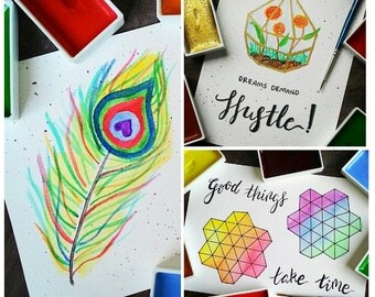 SET OF 3 - Hard Work Pays Off Watercolor Handmade Motivational Notecards