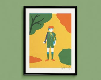 Moonrise Kingdom (Sam) 30x40cm 3 colour screen print