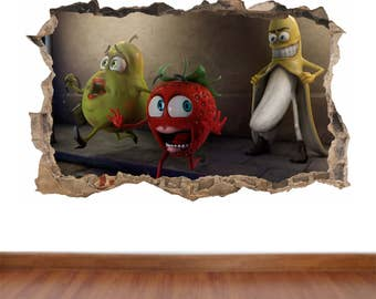 Banana Stalker hole in the wall full colour sticker decal - poster