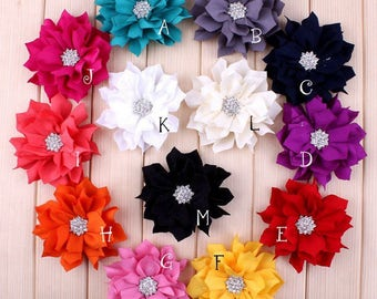 "3.6"" 13colors Artificial Lotus Leaf Flowers With Rhinestone Button For Hair Clips Accessories Fabric Flowers For Headbands Craft Supply"