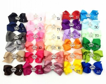 "3"" 30colors Handmade Grosgrain Bows+Crown Buttons Ribbon Boutique Flower Bows+Clip For Kids Girls Hair Accessories"
