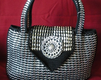 Large Black Tote made from Upcycled Soda Tabs