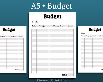 Budget Planner PDF • Expense Tracker • Printable Planner Inserts A5 • Budget A5 insert • Finance • budget planner insert • A5 planner