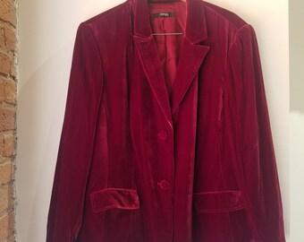 Womens Red Velvet Blazer Size 24