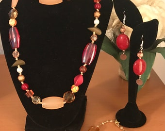 Rouge Red Mixed Media jewelry set