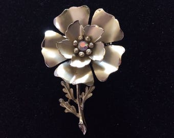 Vintage Large Coro Gold Tone Flower Brooch