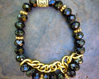 Handmade Beaded Bracelet ~ Black Crystal with Gold Chain