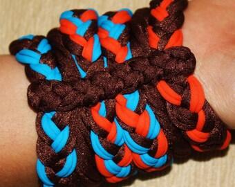 Bracelets Brown Orange and Blue, lycra, 100% Handmade