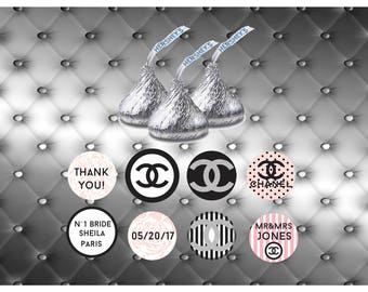 personalized hershey's kisses chanel, coco chanel hershey's kisses, custom hershey's kisse stickers, chanel kisses favor labels