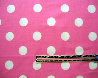 Polka Dot Fabric Pink White Cotton By the Yard 36 Inches Long