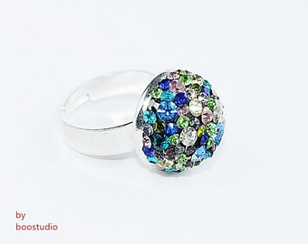 Multistone ring, multicolor zirconia ring, zirconia ring