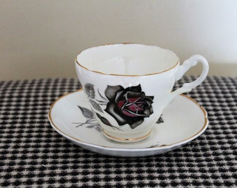 Vintage Fine Bone China Sandford Black Rose Teacup