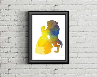 Beauty and the Beast Dancing - Disney Inspired Silhouette - DIGITAL PRINT DOWNLOAD