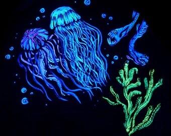 Hoodie underwater S, black light UV blacklight Goa psy