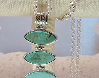 Turquoise Pendant Neckace, Natural Gemstone Pendant Necklace, Gifts for her