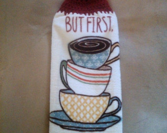 But first coffee a crochet top towel