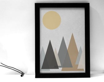 Trees and Moon Art Printable
